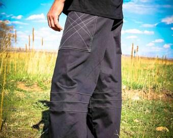 Pacha Play Mens Pants- Black Straight Leg- Mens' Clothing- Festival- Stretch- Ninja- Burner- Dance- urban jedi