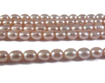Labor Day SALE - Pink Champagne Pearls, Natural Freshwater Rice Pearls, Pale Pink Pearls, 16 Inch Strand, 5x4mm, Jewelry Supplies (P-R14)