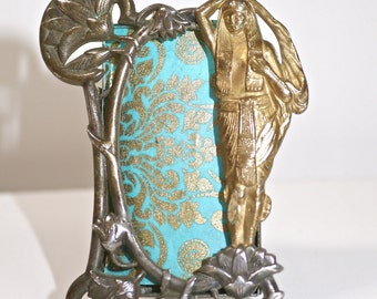 Vintage Silver Plated Mini Frame -Egyptian 1920's Style -Brass Odalisque guardian