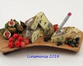 12th scale handmade miniature Shropshire Blue Cheese & Figs