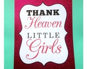 CLEARANCE Thank Heaven for Little Girls 8x10 Baby Shower Card Stock Sign Decoration Sign in Black and Hot Pink Glitter SALE