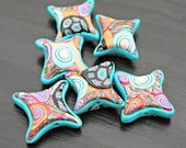 Set of Handmade Polymer Clay Beads In Star Shaped Pillows Beachy Colors