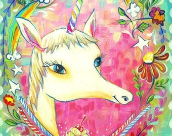 Unicorn with Rainbow Horn, Cupcakes, Candy and Flowers for a child's room - by Heather Renaux-unframed