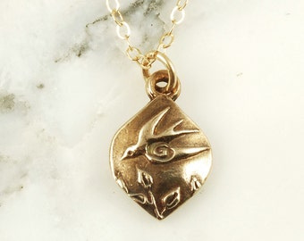 Swallow Pendant - Tiny Bronze Bird Necklace with Gold Fill Chain