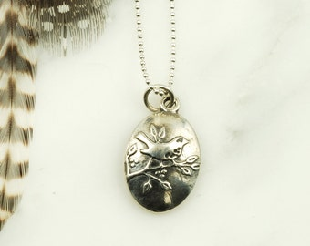 Wren Necklace - Sterling Silver Bird Jewelry, Nature Jewelry
