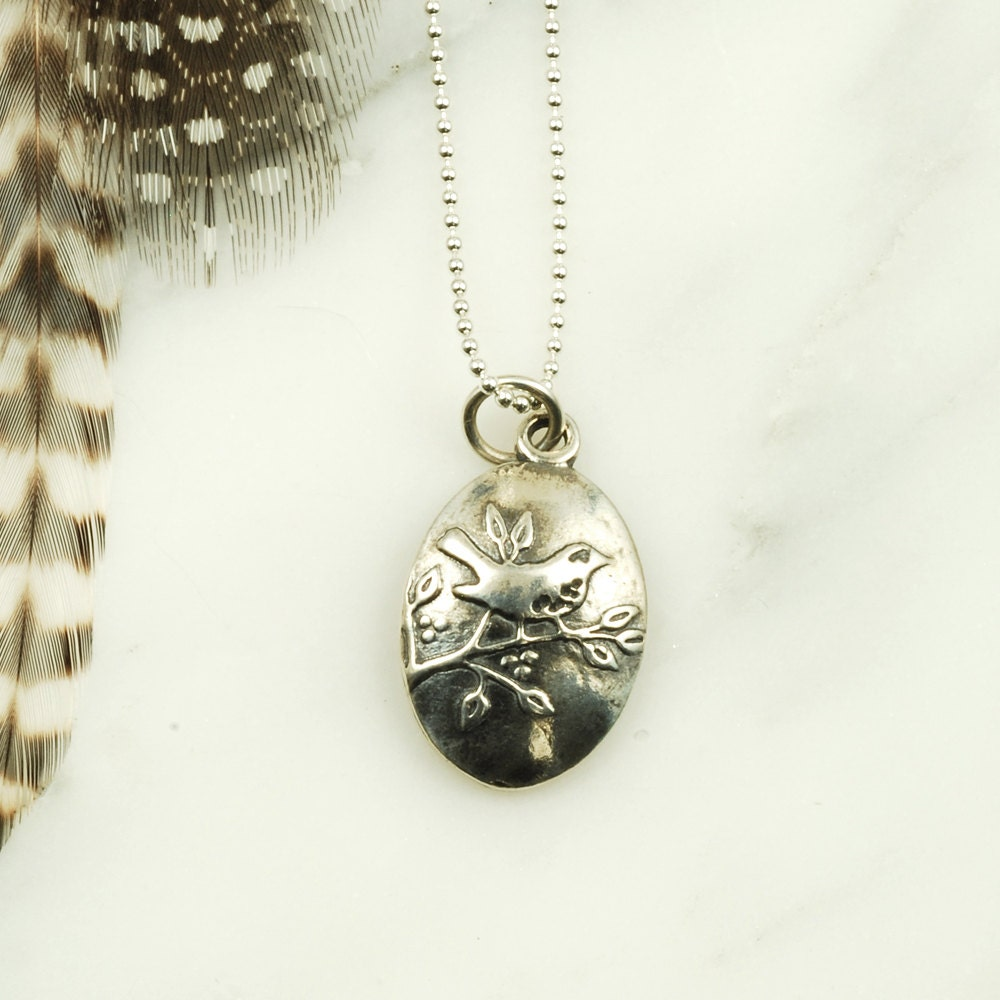 wren necklace sterling silver bird jewelry nature jewelry