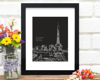 Paris Skyline, Personalized Engagement Gift, Bridal Shower Guest Book Poster, Paris Engagement Gift, Bridal Shower Gift, Eiffel Tower France