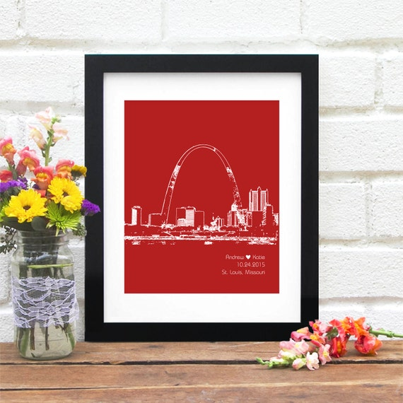 St. Louis Skyline Art, St. Louis Personalized Art Print, St. Louis Missouri Wedding Gift Skyline, Anniversary, Engagement Gift - 8x10 Print