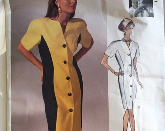 Vintage Vogue Attitudes Pattern, Tom and Linda Platt Designers, 1990's Pattern, Curvy Dress Pattern, Misses Dress Pattern, Size 6-10