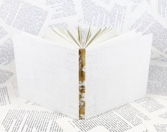 Medium Size Coptic Bound Gold and White Linen Wedding Guest Book