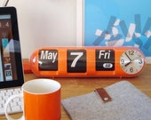 Mid Century Styled Orange Pill Calendar Flip Clock