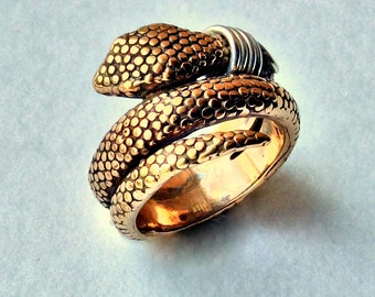 coiled snake ring, snake band, bronze snake ring, long snake ring, hippie ring, bohemian ring, gypsy ring, boho ring - The beginning R2224