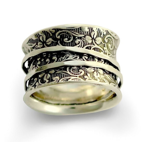 Wedding band, wide silver ring, Spinners Ring, Silver Filigree Ring, Wide Silver Band, Oxidized Silver Ring - A way of life 2. R1209AS