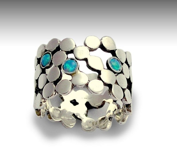 Stone ring, sterling silver ring, gemstone ring, blue opal ring, wide ring, wide band, band with stones, silver band - Yet to discover R1529