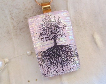 Tree of Life Dichroic Pendant, Glass Jewelry, Necklace, Pink, A1