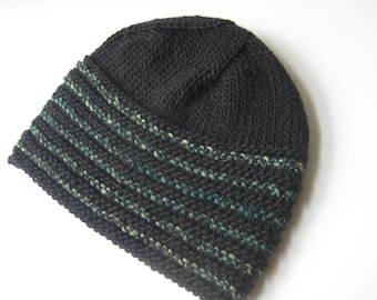 black wool knit hat teal and green stripes