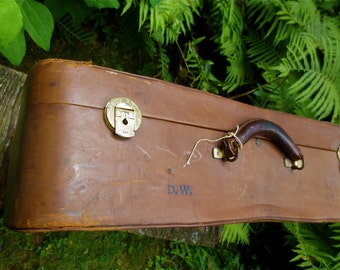 English Leather Soft Case Suitcase -  Vintage early 1960s -  Brown Kid Leather - Brass Hardware Buckles