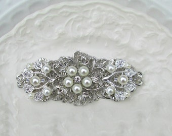 Pearl Bridal Clip, Wedding Barrette, ivory pearl & silver, Bridal Hair Comb, wedding accessories, Hair Accessories, Wedding Hair Clip
