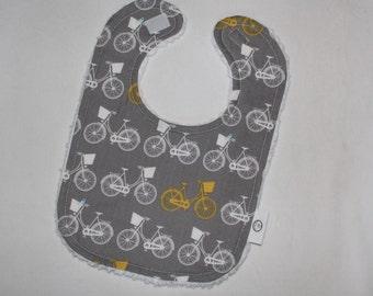 Gray and Yellow Whimsical Wheels Chenille Bib