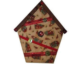 Small Art Quilt, Wall Hanging, Fabric Birdhouse, Cream Birdhouses