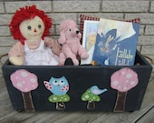 Toy Box WOODLAND OWL - Hand Painted Wood Primitive/Rustic - Hand Crafted In Michigan