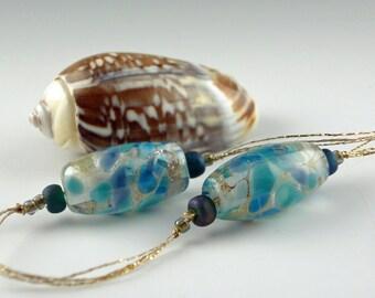 Lampwork Glass Beads, Handmade Lampwork Bead set, Artist Lampwork, Lampwork Bead Pair, earring bead pair, Joy