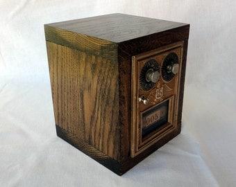 Dark Oak Safe Vintage Bronze Eagle Combination PO Door Bank Wooden USPS Mailbox #5 Lock Combination 5th 8th Anniversary Retirement Groomsman