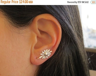 ON SALE - Floral silver ear cuff, Climbing earrings, Silver flower earrings, Ear sweeps, Ear crawler, nature earrings