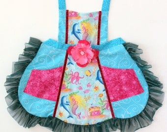 Mermaid and Dolphin  Apron,  toddler apron, girls apron