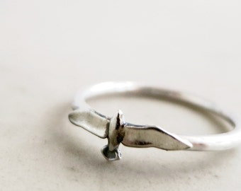 Bird ring, Sterling Silver, Seagull, stacking ring, Nature inspired jewelry