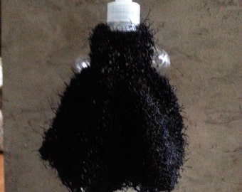 Pot Scrubby, dish detergent bottle dress, knit fabric, Black knit dress