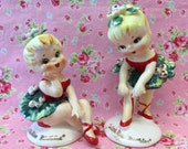 ReSERVED.. For  Jeannie....Vintage Lefton Miss Mistletoe Christmas Figurines...Xmas Collectibles..Near Perfect!!!