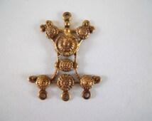 Vintage Oxidized Brass Ornate Connector