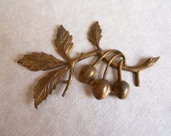Vintage Brass Cherry Tree Branch Stamping