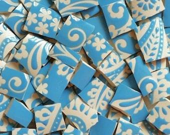 Mosaics Tiles--Charleston Blue Paisley - 70 tiles