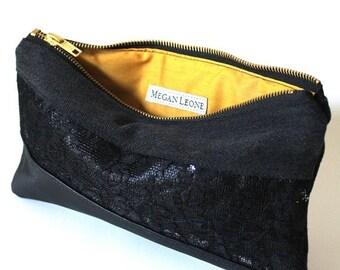 Sequin /Lace / Leather / Denim Clutch - Silver Sequin