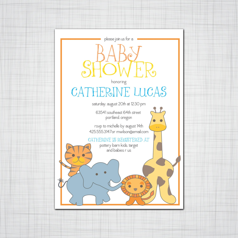 Cute Safari Animals Baby Shower Invitation, Birthday Party ...
