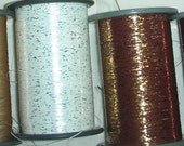 Vintage Kimono Thread - Washi Synthetic - White with Gold Speckle - 50 Yards