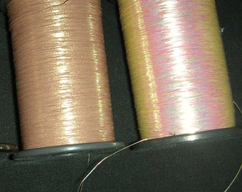 Washi Synthetic Thread  -  Vintage Japanese Thread - Embellishment - Embroider - Sew - Flat - Taupe  Gold - 50 Yards