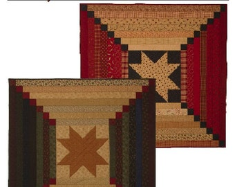 On Sale 15 Percent Off Log Cabin Star Kansas Troubles Quilters Lynne Hagmeter Quilt Pattern Wall Quilt or Table Topper Jelly Roll Project