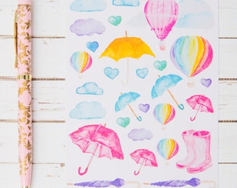 Rainy Day Watercolors MATTE Sticker Sheet | For Kikki K, Erin Condren, FiloFax or other Journals and Planners