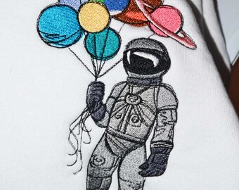 Astronaut with Planet Balloons Youth Girls Hoodie