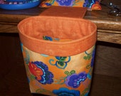 Thread Catcher // Scrap Caddy // Pin Cushion With Rubberized Gripper Strip // Orange And Purple Floral