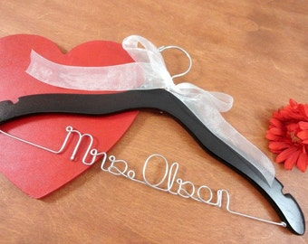Personalized Name Hangers - Hangers with Names - Bridal Gown Hanger - Brides Hanger - Bridal Party Gifts - Name Hangers - Mrs Hangers