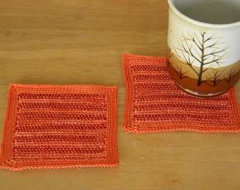 Copper Brown and Orange Coasters - Tunisian Crochet Tweed Fabric - Crochet Coasters Set of 2 - Fall Colors - Handmade Crochet Art Decor
