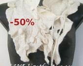 50% off - JANUARY SALE White Nuno Felted Scarflette - Neckpiece  - Fibre Art with Shibori