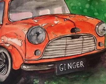 Mini Cooper Orange Original Painting