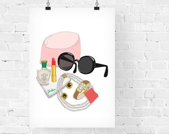 Jackie Kennedy What's in my Bag Portrait Fashion Illustration Art Print