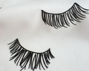 Black Eyelashes EmmaKisstina Spoonflower fabric by the yard