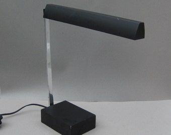 Mid Century Lightolier Baton Desk Lamp Michael Lax Modern Design Matte Black Office Task Light 1967